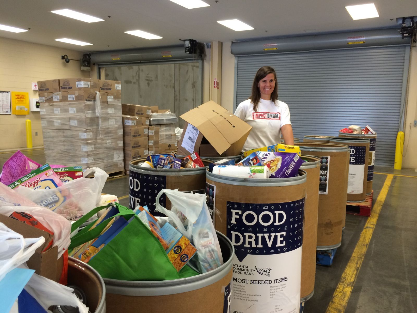 Turner's Betsy Anderson organizes donations in the Atlanta office.