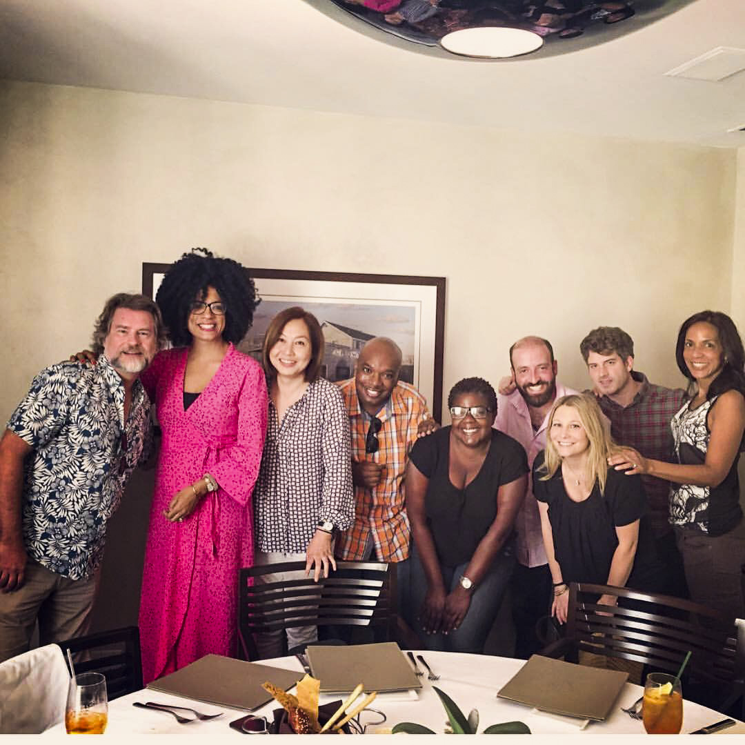 "DDarrin Dortch with ""Claws"" show creator Eliot Laurence, showrunner Janine Sherman Barrois and the rest of the writing team."