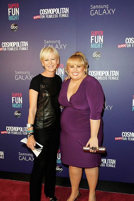 Cosmopolitan Magazine Editor-in-Chief Joanna Coles (left) with Super Fun Night star Rebel Wilson (right) celebrating at the premiere screening and party hosted by Cosmopolitan and Samsung Galaxy in New York.